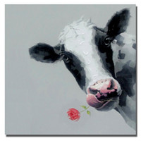 Wholesale Pictures Cows - Hand drawing abstract cow and rose pictures decorative design realistic animal dairy cattle oil painting new decoration 2016