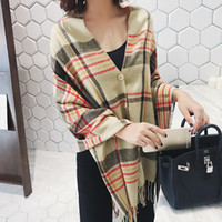 Wholesale Korean Scarf Price - 2017 Outlets Autumn and Winter Scarf Female Korean Button Shawl Long Double Thick Plaid Scarf for Lady all-match Wholesale Price