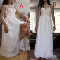 Sexy Corset Wedding Dresses with Split Sheer Neck Pretty Lace Bodice Flowing Shiffon Skirt Illusion Long Sleeves Beach Wedding Gowns