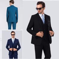 Wholesale Top Mens Suits Brands - 2018 Fabulous Top Brand Mens Suits Wedding Groom Plus Size 3 Pieces(Jacket+Vest+Pant) Slim Fit Casual Wedding Tuxedo Suit
