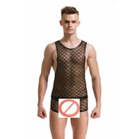 Wholesale Men S Sexy Underwear Fishnet - Wholesale- Fashion Brand Black Plaid Fishnet Man Sexy Bodybuilding Funny Sheer Tank Tops+Mens Underwear Boxers