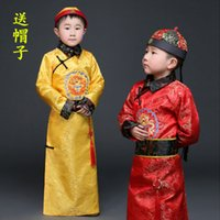 Wholesale Cheap Mens Robes - Cheap male child ancient Costumes Boy mens little emperor dragon robes suits Qing Dynasty Prince Man traditional clothing