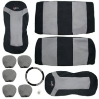 10PCS Car Seat Covers Full Set Poliéster Sponge Car Styling Acessórios Interior Universal Car Seat Covers Cinza e Preto