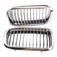 Wholesale Grid Bmw - 2 pcs Silver Left & Right Grille Grill Chrome Frame Fin Bar Grid For BMW 7-Series E38 728 730 735 740 1999-2001 ABS Plastic
