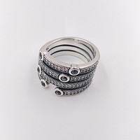 Wholesale sterling silver ocean - Authentic 925 Sterling Silver Rings Shimmering Ocean Ring Fits European Pandora Style Jewelry 191002CZF