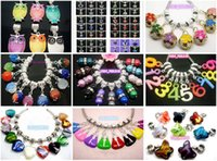 Venda por atacado 100pcs / lot Mixed Style Eye / Rhinestone Beads / Imitation Pearl Dangle Pingentes fit Colar Pulseira Europeia
