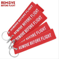 Wholesale Remove Before Flight Keychain - Funny Creative Fabric Key Ring Remove Before Flight Keychain Pilot Bag Crew Tag Luggage Keyring
