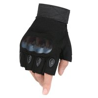 Wholesale Leather Fingerless Bicycle Gloves - 2016 Black Tactical Gloves Wrist Half Finger Driving Climbing Bicycle Sports Glove Adult Fingerless Mittens Z-2409