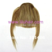 Wholesale Clip Bangs Front - Wholesale-Free Shipping Clip on Girls Front Inclined Bang Fringe Hair Extensions #18 22,40g