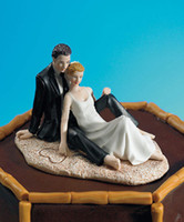 Wholesale Real Doll Supply - 2016 New Romantic Couple Lounging Beach Wedding Cake Topper Real Image Wedding Favors Wedding Decorations Doll Cake Decoration