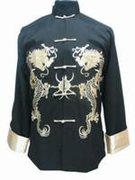 jaqueta de casaco tradicional chinesa venda por atacado-Queda-Vintage Preto Chinês Tradicional Homens Jaqueta de Cetim De Seda Casaco Bordado Feito À Mão Dragão Outwear S M L XL XXL XXXL M-1011