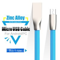 Wholesale Cheapest Micro Usb Cable - 3D Zinc Alloy metal USB Cable micro usb 2.1A Fast Charging Data Sync Cable for smartphone all kinds of cellphones dhl cheapest
