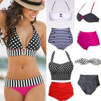 Wholesale Underwire Swimwear Women - 2016 New Hot Sexy Polka Dot Bikini Swimwear For Women High Waist Bandage Underwire Swimsuit Brazilian Bikinis Bathing Suits