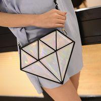 Wholesale Harajuku Clutch - Wholesale-2016 New Fashion Harajuku Diamond Shoulder Crossbody Bags Single Bag Messenger Handbag Women Leather Mini Sac Feminina