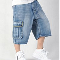 Wholesale Baggy Hip Hop Loose Jeans - Wholesale-2016 Moletom Skinny Masculina Hilip Hip Hop summer style baggy shorts Loose big Skateboard printed bermuda jeans masculina