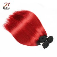 Wholesale Dark Red Virgin Hair - Colored Dark Root Red Hair Ombre Indian Virgin Hair Weave Silky Straight 3 Bundles 12 14 16 18 inch Remy Human Hair Extensions