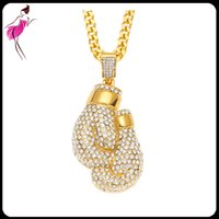 Wholesale fist pendant - 2017 Hot Sale Gold Plated Cool Men Jewelry Stainless Steel 18K Crystal Full Diamond Boxing Fists Pendant Necklace (NL033G)