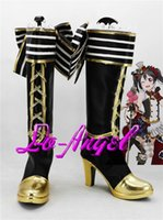 Wholesale Maids Shoes - Wholesale-Anime Love Live! Nico Yazawa Maid Cosplay Party Shoes Black and Golden Boots Customized Size