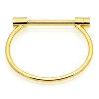 stainless steel screw venda por atacado-Moda Manilha Parafuso Pulseira Cuff 18 K Rose Gold Bangle Pulseiras De Aço Inoxidável Pulseiras Para As Mulheres Pulseira de Amor Por Atacado