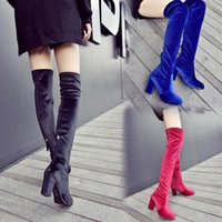Wholesale Long Sexy High Heel Boots - New Style Women Over The Knee Boots Slim Thigh-High Stretch Long Boots Velvet Back Zipper Autumn Winter Sexy Party Shoes Chunky High Heels