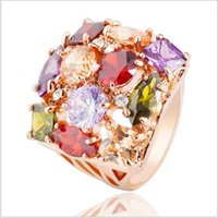 Wholesale Real Silver Ring Red - European Style Flower Pattern Exaggerated Ring Unique Real 18K Rose Gold Plated Austrian Crystal Women Rings 23*17mm