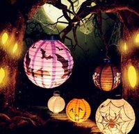 Halloween Dekoration LED Papier Kürbis Licht hängende Laterne Lampe Halloween Stützen Outdoor Party Supplies G809
