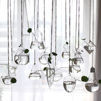 Wholesale Bar Vase - Terrarium Glass Hanging Vase Bottle Plant Flower Decoration Home Garden Bar Style Hanging Flower Vase Wedding Centerpiece Vases