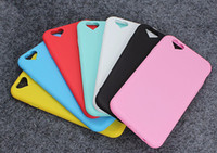 Wholesale Sweet Heart Case Iphone - Love Heart Soft Silicone Fashion Sweet Color Phone Case For Apple iPhone 6 6S 6 Plus 6s Plus capa Coque Protective Cover Back