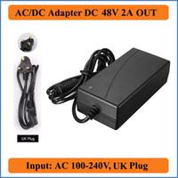 ingrosso adattatore di corrente alternata 48v-Adattatore DC 48V 2A AC UK Plug 100-240V AC Adapter convertitore DC 48V 2A 96W Charger Power Supply nero per Led strisce luci