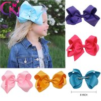 Wholesale Large Barrettes Colors - 8 inch Hair Bow 15 Colors Solid Ribbon Knot Baby Girls Large Hair Bows Hair Accessories On Alligator Clip