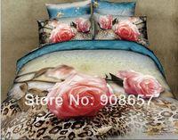 Wholesale Leopard Skin Duvet - 2014 new 3D printed bedding pink rose flower leopard skin quilt duvet covers set full queen size 4-5 pieces 100% cotton fabric