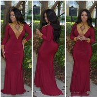 Wholesale Stands Evening - 2017 Plus Size African Burgundy Prom Dresses Gold Appalique Stand Collar Long Sleeves Trumpet Chiffon Mermaid Formal Evening Gowns