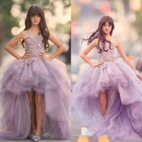 Wholesale Girls Pageant Dres - Classy High Low tiered girls pageant Dresses Special Occasion For promance Lace Appliqued flower dress Ball Gown Tulle First Communion Dres