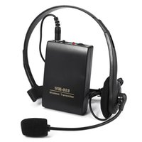 Wholesale transmitter receiver set - New TOPS WR-603 Portable Microphone Wireless FM Transmitter Receiver Lavalier Clip + Headset Microphone Set For Meeting Conferen