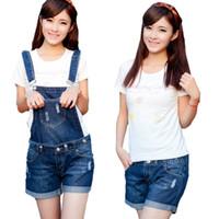 Wholesale Jeans Jumpsuits Rompers - elegant jumpsuit Women's Jeans Pants Siamese Pants Short Rompers denim jumpsuits denim overalls women rompers womens jumpsuit