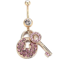 Wholesale 14kt Gold Wholesale - 1PC 14KT Gold Plated Piercing 316L Surgical Steel Crystal Belly Ring Navel Bar Gold Lock & Key Dangle Body Jewelry Piercing