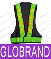Wholesale Neon Stripe - 16 LED Light Up Safety Vest With Reflective Stripes Kevlar Tactical Vest Neon lime V clothing Safety Belt Article Printing A5 NEW 751