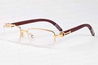Wholesale Eyeglass Frames For Girls - Brand designer sunglasses for men 2017 buffalo horn glasses gold and silver frame half frame glasses multi-color wooden eyeglass stand