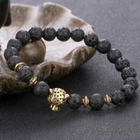 Wholesale Elastic Stone Ring - European women and men's 8MM volcanic stone elastic beaded bracelets unisex cheetah strands bracelets jewelry accessories