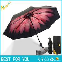 Wholesale Parasols Garden - New hot Sky garden series Folding sun umbrella Women Parasol double umbrella folding umbrella banana Daisy black UV glue
