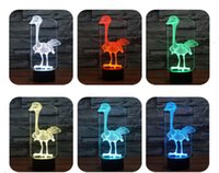 3D colorido Escultura Visual Bulb ilusão ótica LED Abajur Touch USB Romantic Holiday Night Light Ostrich / Dragonfly / Eagle / Dog s