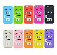 Étuis D'iphone Bean Chocolat Pas Cher-New Fashion silicone souple de couverture 3D Cartoon mignon MM Haricots chocolat coloré arc-en-Coque Iphone 6 6s plus 7 7 ainsi que samsung S7
