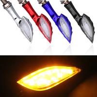 Wholesale bike flashing light online - 12V Universal Motorcycle Turn Signal Light Colors LED SMD Indicator Blinker Flash Bike Lamp
