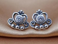 Wholesale Diy Silver Pandora Charm Earrings - Earrings 100% 925 sterling silver stud earrings with clear CZ crown fitS for pandora charms jewelry DIY women wholesale 2016 NEWEST