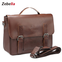 Documento Comercial Baratos-Venta al por mayor- Zebella Vintage Men's Business Maletines Pu Leather Brown Mens Laptop Messenger Bolsos Classic Cartera de documentos Oficina Bolsa Nuevo