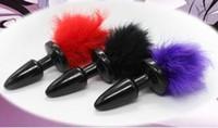ingrosso connettore anale per coda di coniglietto-Bunny Tail Butt Plug / tick tickler / plug anale / giocattolo anale / ornamento di piume, prodotto novità / giocattoli del sesso