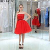 Red Sequins Short Bridesmaid Dresses Дешевые без бретелек мини-девушки Party Gowns Оптовая цена Мода Nigh Wear
