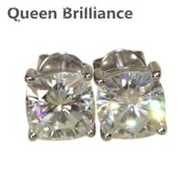Queen Brilliance Solid 18K 750 en acier blanc Screw Post Back 2.2 Carat ctw Cushion Cut Stud Moissanite Boucles d'oreilles diamant pour femmes 17903