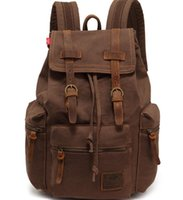 Wholesale Vintage Man Rucksack - Vintage leather Canvas Backpack Rucksack mountaineering book backpack school backpack travel bags camping hiking sport outdoor packs