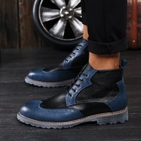 Wholesale cowboy boots for men - Brand Luxury Mens Dress Boots Genuine Leather High Quality Ankle Boots Men Shoes for Business Genuine Leather Mens Dress Shoes